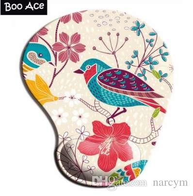 Bird Pattern 3D Mouse Pads with Silicone Gel Wrist Rest Gaming Mousepads 2Way Fabric