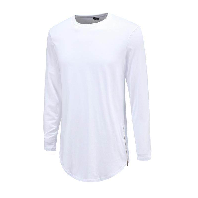 Hip Hop Men T Shirts Super Longline Long Sleeve T -Shirt Hip Hop Arc Hem With Curve Hem Side Zip Tops Tee O-Neck