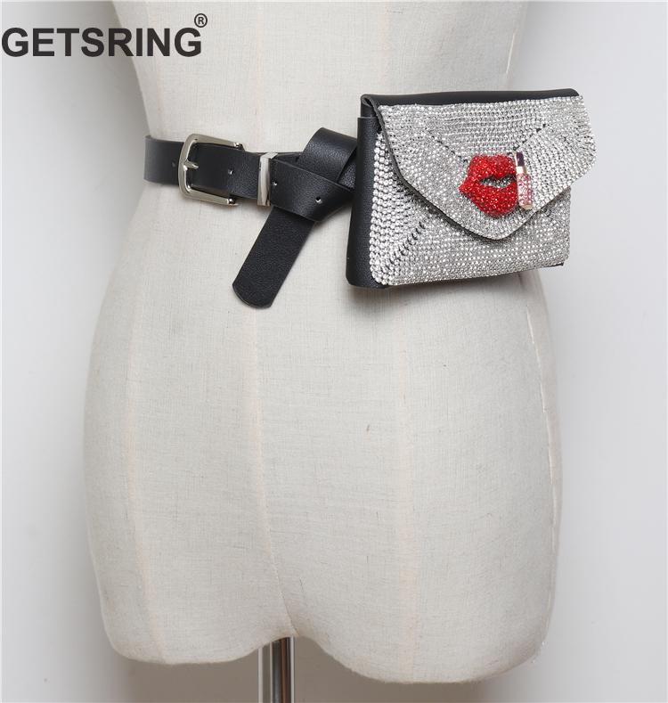 GETSRING Woman Bag Woman Wait Bag Geldgürtel Gürteltasche Taschen für 2018 New Black Diamond Fashion Hüfttasche Casual Sexy