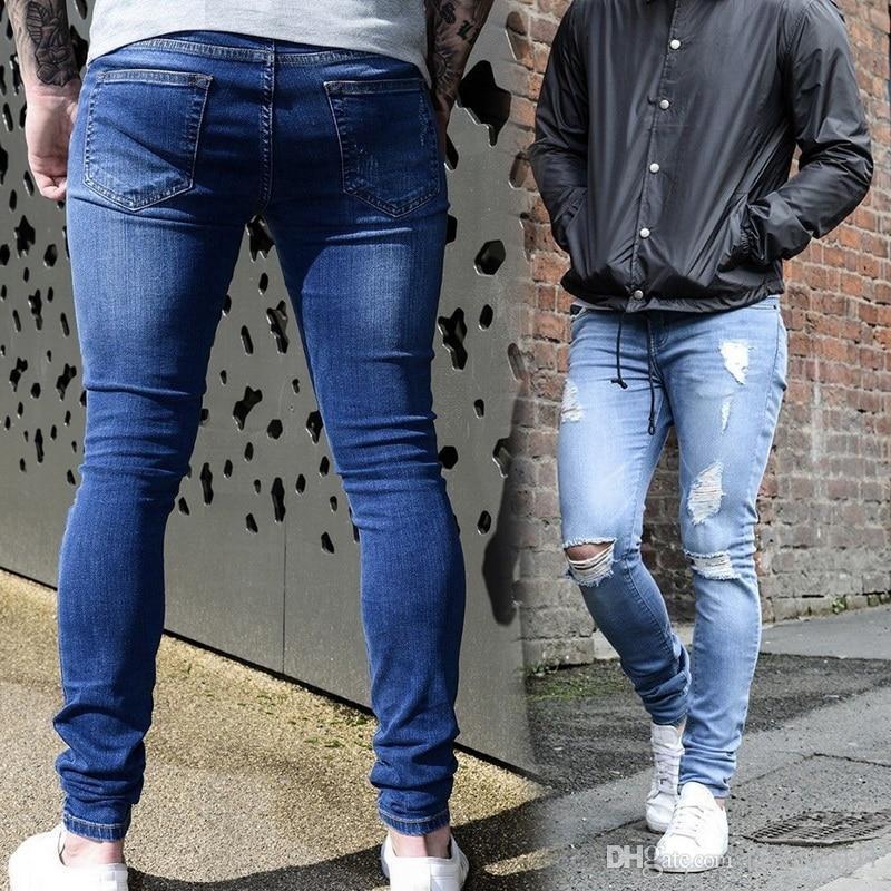 Automne Bleu Jeans Skinny Hommes Mode Slim Droite Denim Pants Sexy Streetwear Hommes Déchiré Trou Jeans Plus La Taille 3XL