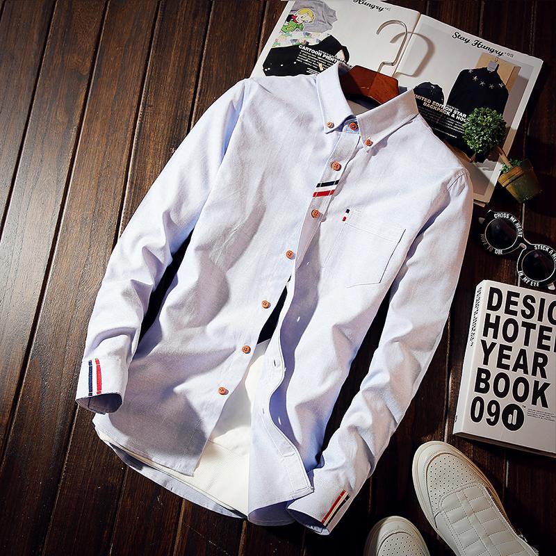 Versión coreana de nuevas costuras La camisa de desgaste casual de manga de manga de manga para hombre Iong Iong Shirt Cinta de negocios EXQBM