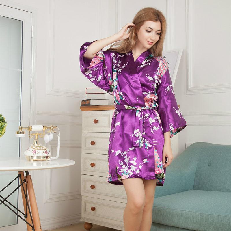 Сексуальные женщины атласный халат цветочный павлин принт халат короткие кимоно ночной халат халат-MX8 S1015