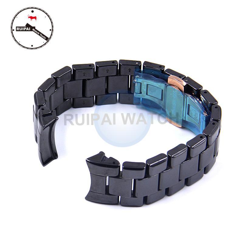 22mm mann keramik armband schwarz farbe butterfly schnalle armband keramik armband für ar1410 ar1400