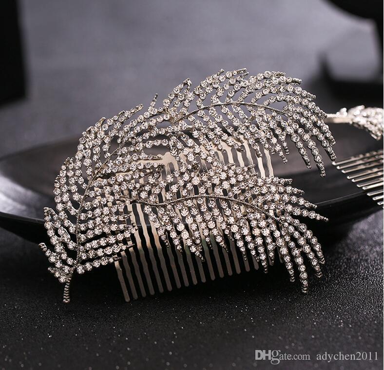 كريستال الراين الشعر مشط زفاف أغطية الرأس الزفاف الشعر مجوهرات رباطات العروسة غطاء الرأس الأزياء الزفاف الشعر