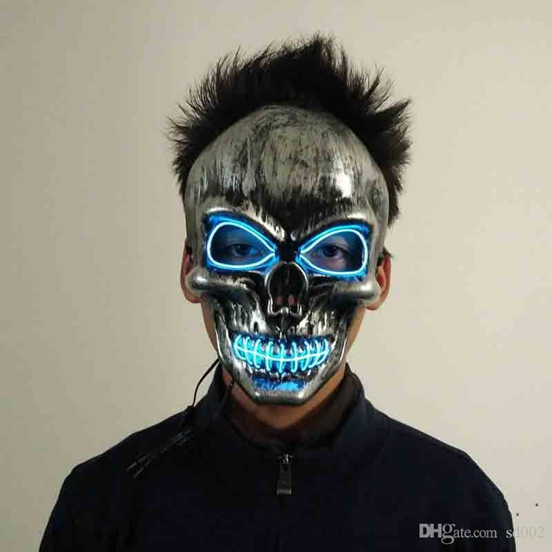Scary Masks Halloween Grimace Purge Mask El Cold Full Face Masks Originality LED Light Luminescence Party Prop Ornaments 26yh Ww