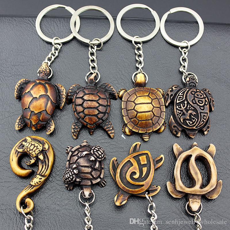 Jewelry Wholesale 20pcs Cool Hawaiian Surf Sea turtles Keyrings Imitation Yak Bone cute tortoise Keychains Car Key Rings for men womens Gifs