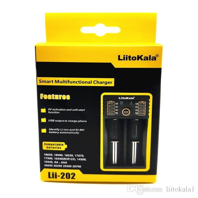 LiitoKala LII-202 26,650 16,340 14,500 RCR123 된 LiFePO4 1.2V의 Ni-MH 니카드 Rechareable 배터리 용 충전기 18650