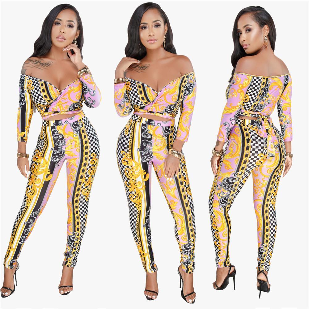 Женские два частя брюки наборы печатают V-образным вырезом от плеча сексуальные повязки Платья для вечеринок Урожай костюмы плюс размер XXXL для женщин