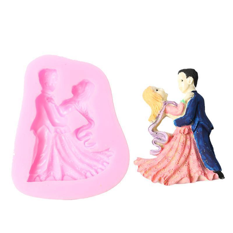 Fondant Silicon Mold Wedding Ceremony Couple Bride Groom Dance 3D Mold Silicone Candle Molds Craft Tool Chocolate Molds Bakeware