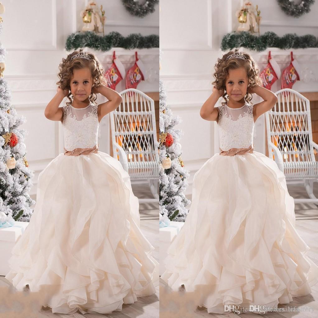 Lace Flower Girl Dresses para casamentos Sheer Tank mangas apliques de cetim Prom vestidos de meninas pageant vestido