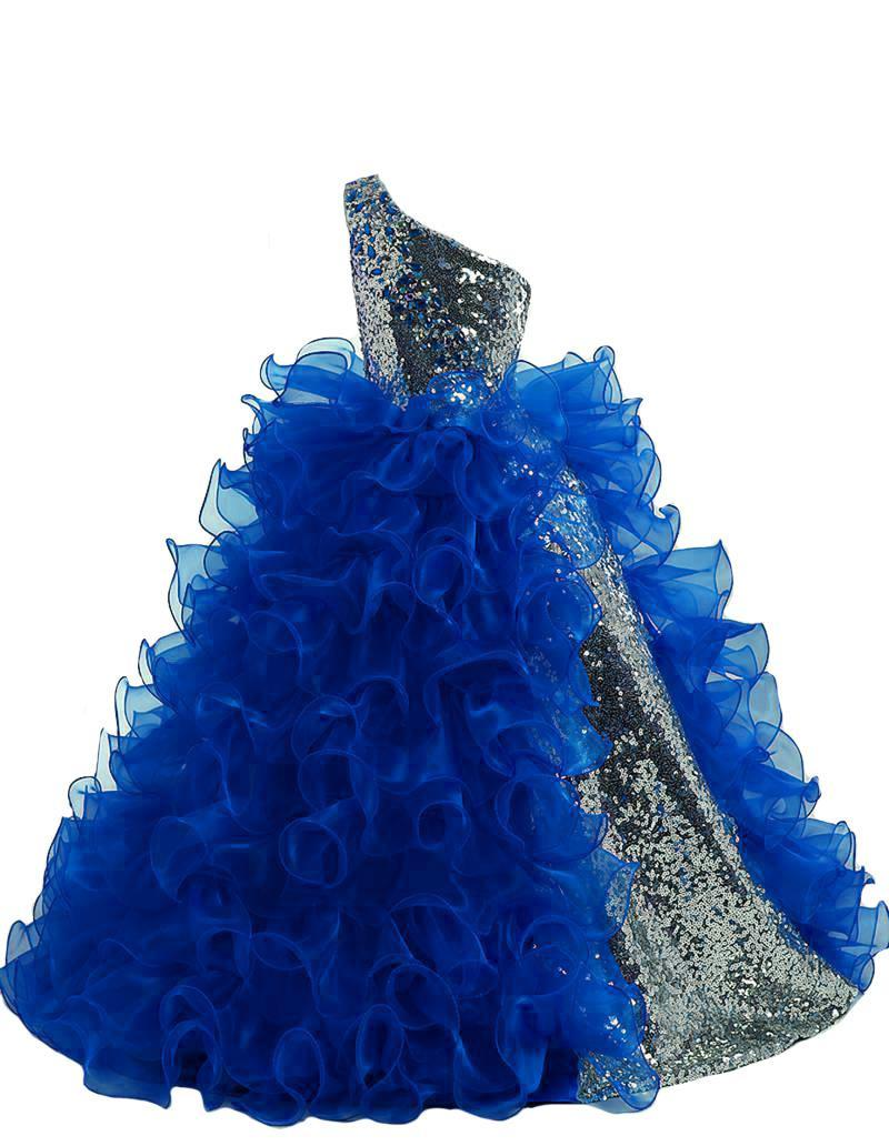 볼 가운 꽃의 소녀 드레스 한 어깨 여자 선발 대회 드레스 한 어깨 스팽글 현란 긴 선발 대회 드레스