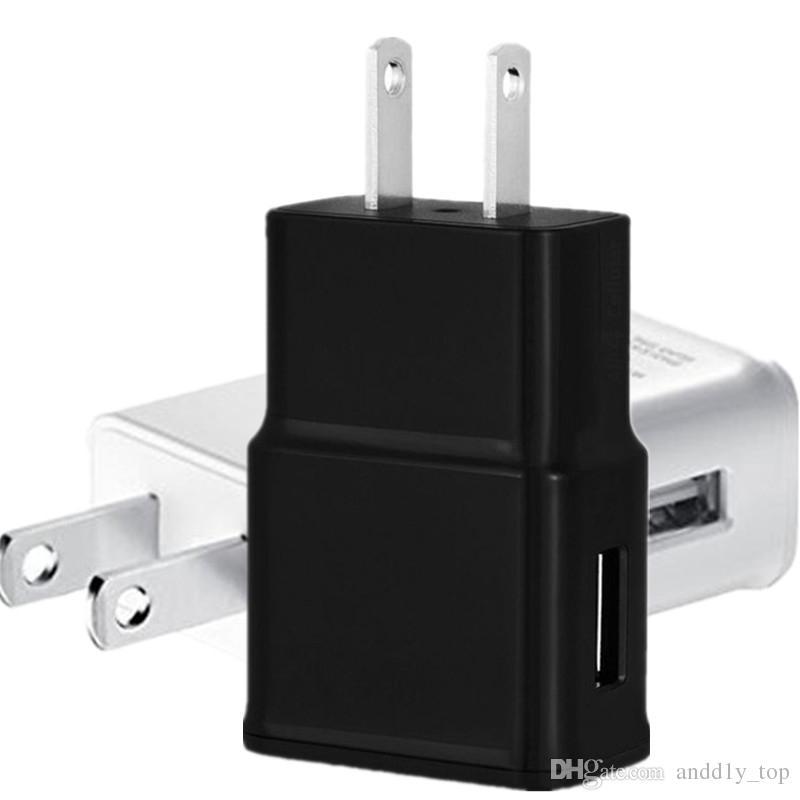evrensel akıllı telefon android telefon Beyaz Siyah Renk için USB Duvar Şarj 5V 2A AC Seyahat Ev Şarj Adaptörü ABD, AB Tak