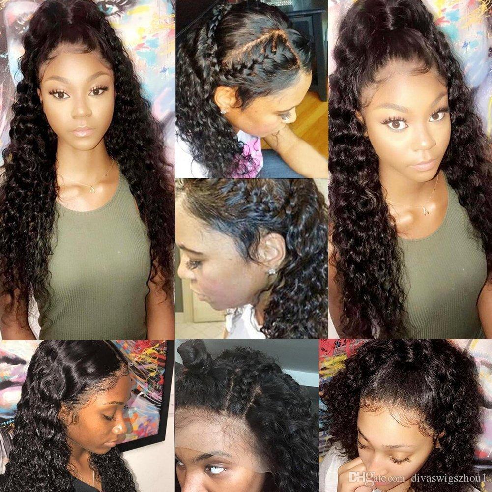 Glueless Lace Front Pelucas de cabello humano Onda profunda 130% Densidad 360 Lace Frontal Peluca Pre Plucked With Baby Hair 360 Pelucas de cabello humano de encaje completo