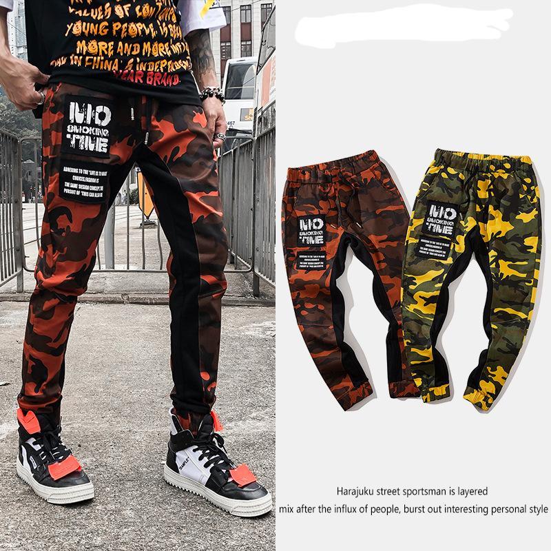 Streetwear Hip-hop allentato Stitching camuffamento pantaloni da uomo maschile cotone casuale pantaloni con coulisse Harem Colorblcok Pantaloni dritti