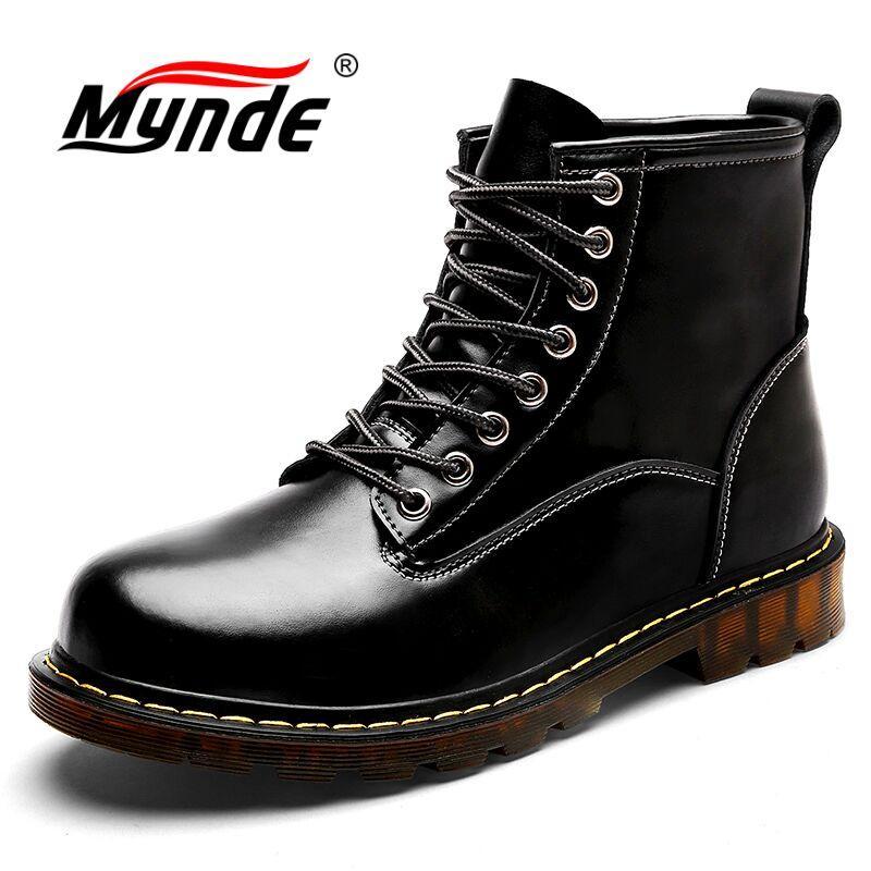 Mynde Yeni Hakiki Deri Erkek Botları Sonbahar Kış Adam Ayakkabı Sıcak Peluş Ayak Bileği Çizme Yüksek Kaliteli Erkek Kar Botları Büyük Boy 38-47