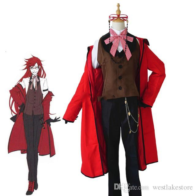 Black Butler Kuroshitsuji Death Grelle Sutcliff Red Coat Shirt Vest Pants Uniform Outfit Anime Cosplay Costumes