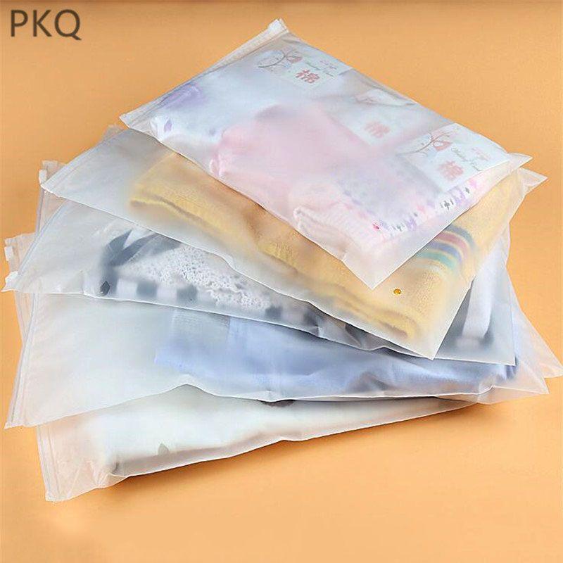 100шт - 5 Размеры Zipper матовые пластиковые пакеты для одежды, футболки, джинсы Розничная упаковка на заказ одежды сумка 4.10
