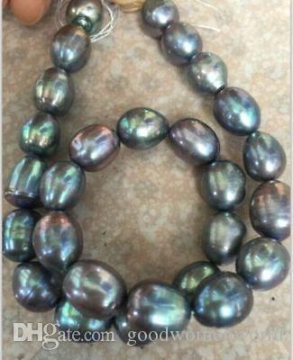 Veloce Spedizione gratuita stnning 10-12mm tahitian barocco nero verde grigio perla Perline sfuse 18 pollici