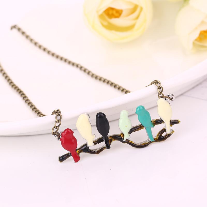Pullover schönen Vogel auf Ast Halskette Frauen Halskette Schmuck Kleidung Zubehör lange ChainNecklaces