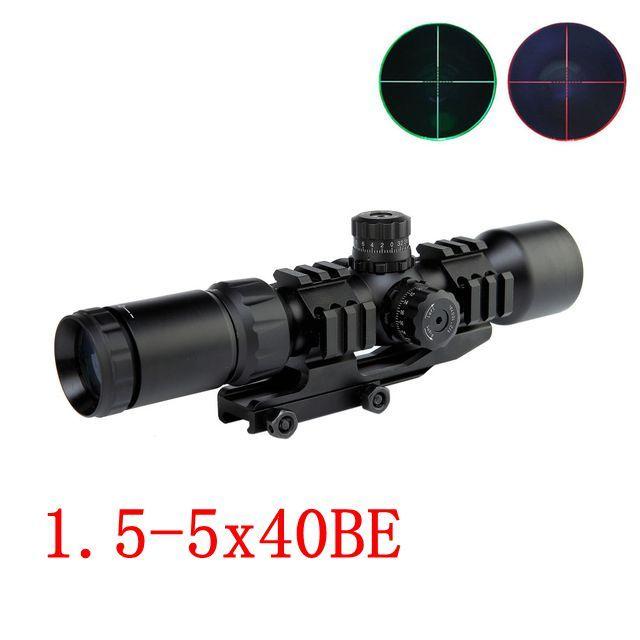 1.5-5X40BE Caça Riflescope Tactical Airsoft Air Guns Pistola Red Dot Rifle Scopes w / Tri-Iluminado Mount Rail Tactical Scopes