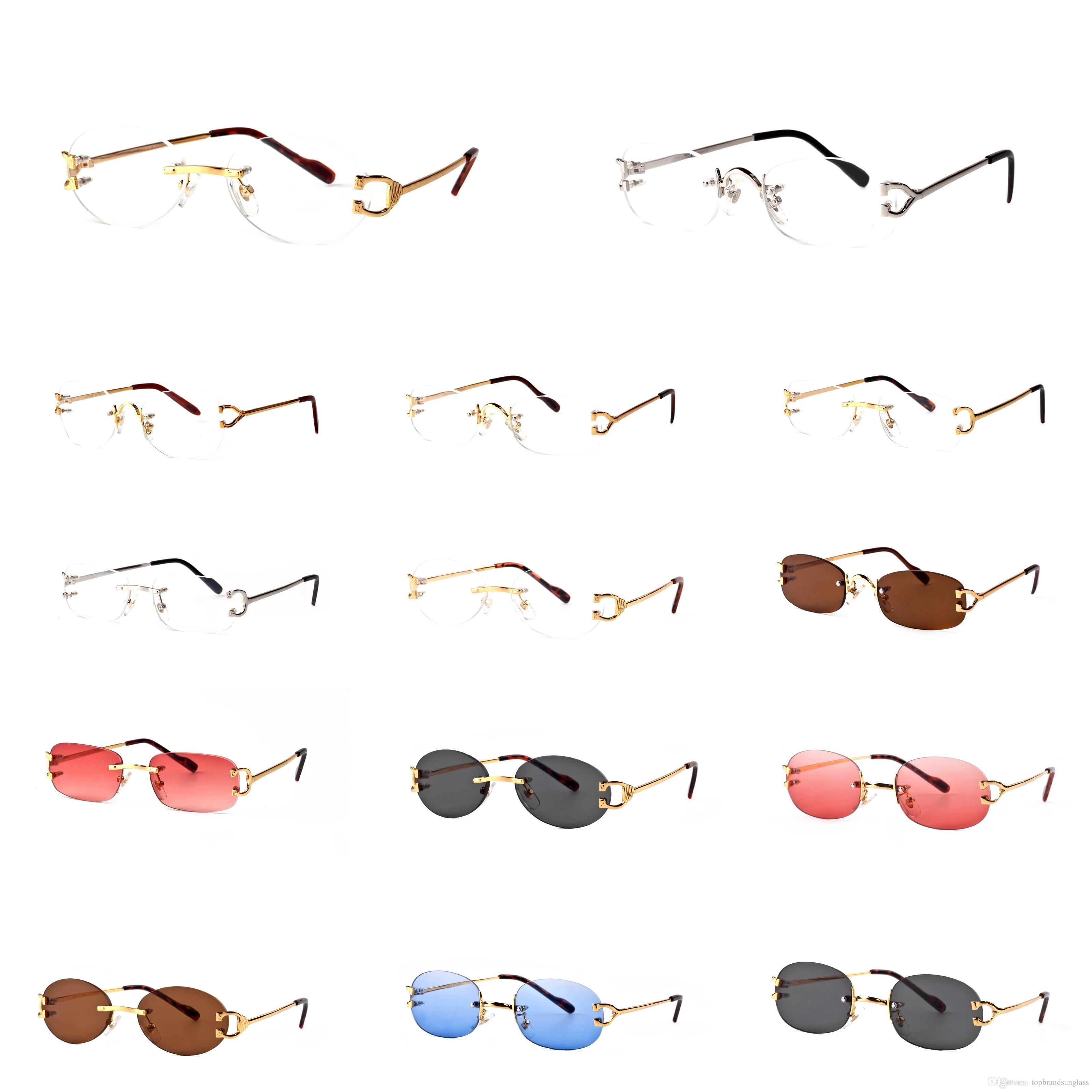 2018 France Brand Buffalo sunglasses men plain Oval mirror glasses c gold metal frame clear lenses optical men sunglasses with original box