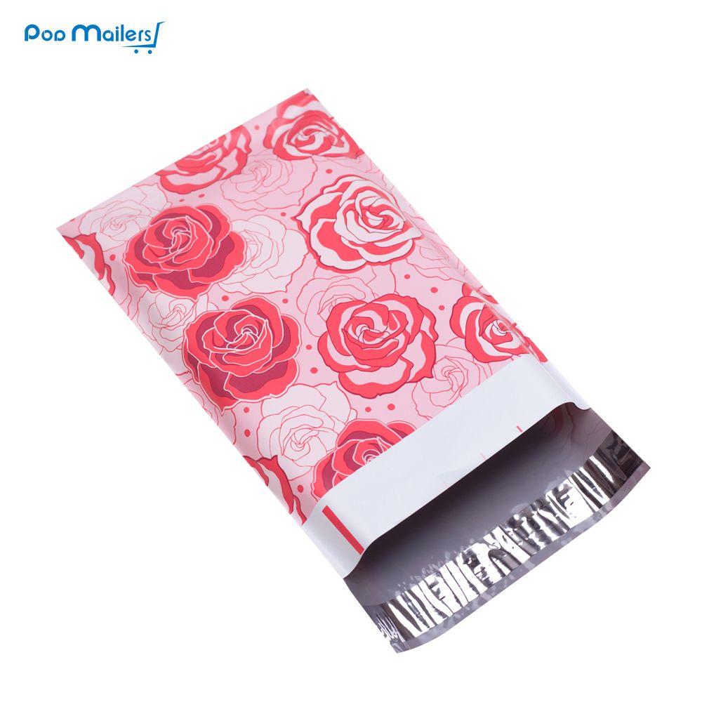 100 pcs 15x23 cm 6x9 polegadas Rose Love padrão Poli Mailers Auto Seal Plástico Envelope Sacos