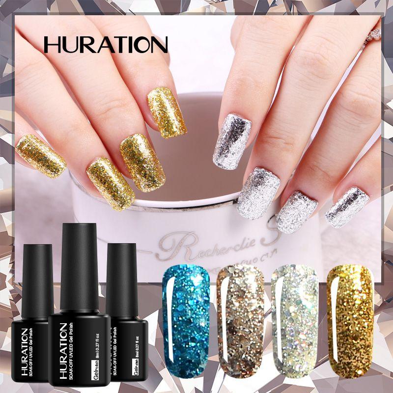 Huration Glitter Decorations 8ml Gel Nail Polish Soak Off UV LED Lamp Gel Nail 20 Color Art Sequins Diamond Varnish