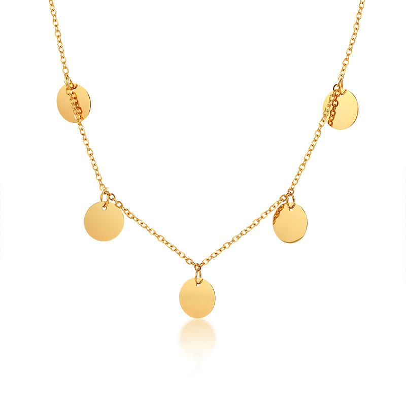 Boho Gold Disc Round Sequin Coin Choker Chain Stainless Steel Necklace
