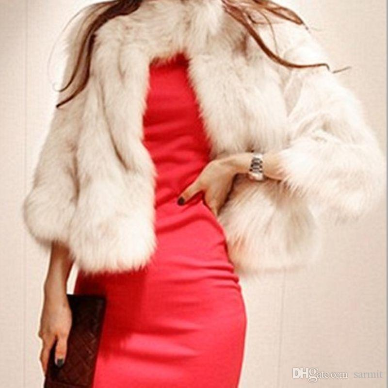 CAF420 Exquisite 2018 Short Women Faux Fur Coat Fake White Black Fur Coats Fluffy Coat 3/4 Sleeve S-2XL