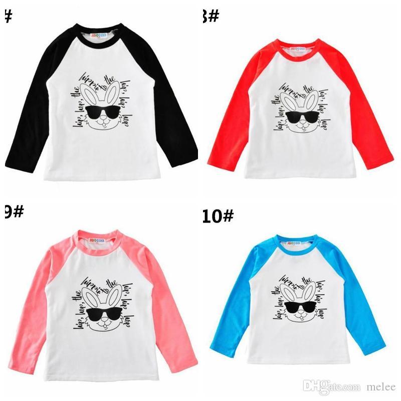 Пасхальный день кролик мальчики девочки хлопок Кролик футболки футболки одежда мультфильм письма с длинным рукавом Детские футболки бутик детские тройники топы