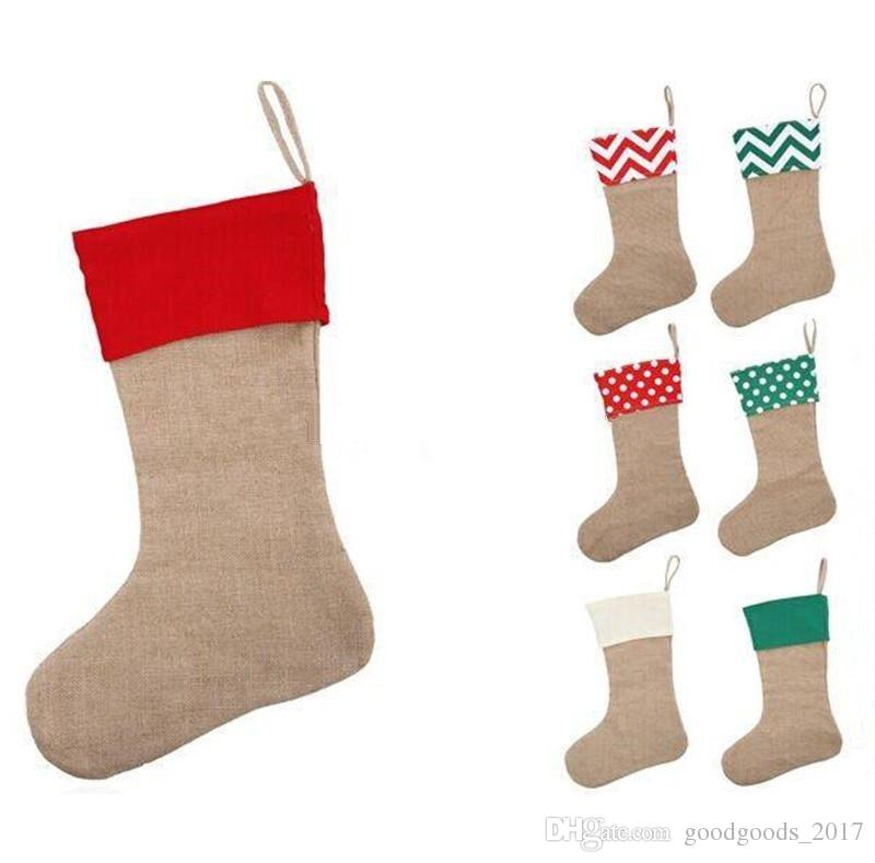12 * 18 дюймов высокое качество холст рождественский чулок подарочные сумки холст Рождество Xmas чулок большой простой мешковины декоративные носки мешок mk0587