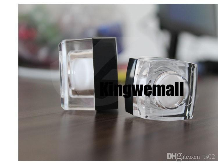 Frete grátis 10g pequeno quadrado de amostra de creme garrafa de plástico jar recipiente acrílico tampa preta para embalagens de cosméticos 10 ml 300 pc / lote