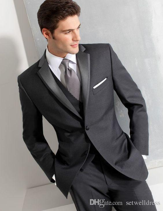 2018 Cheap Dark Grey Men Suits For Wedding Custom Made Slim Fit Groomsmen Tuxedos Three Pieces Prom Party Business Suit (Jacket+Pants+Vest)