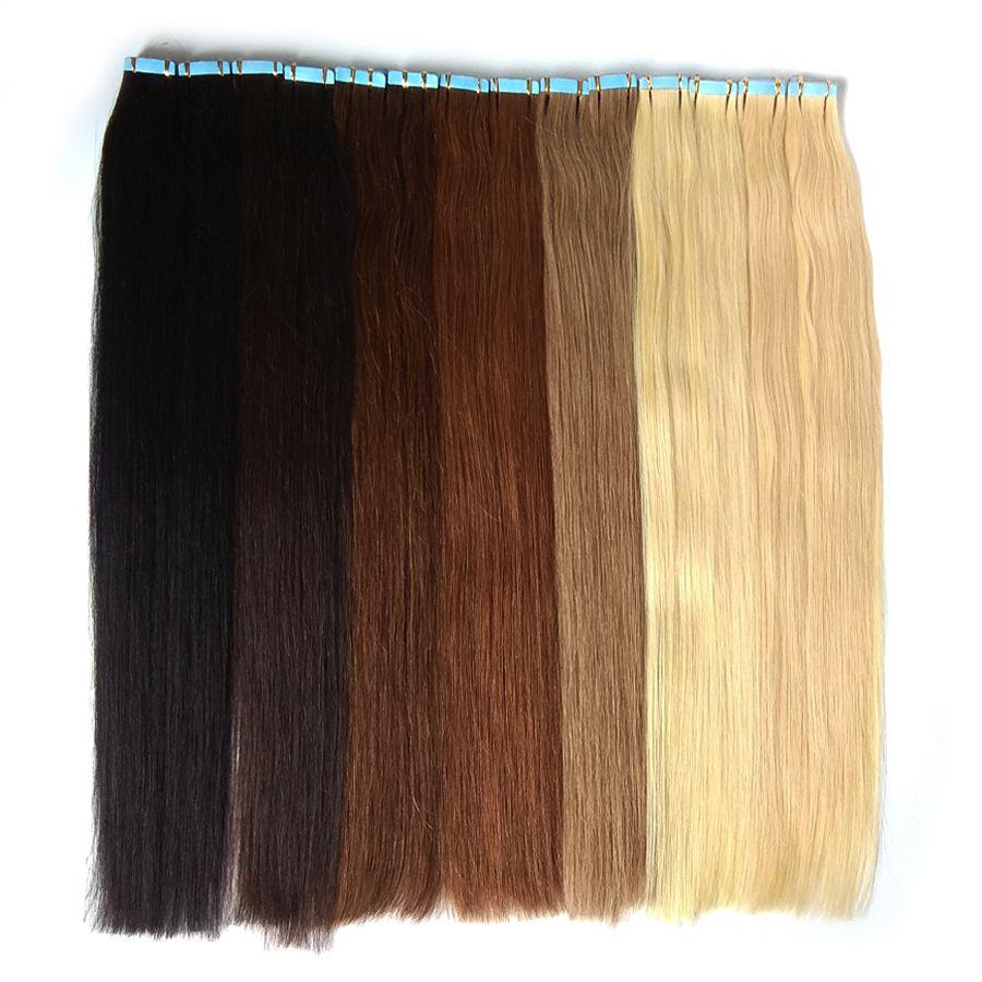 Ruban adexation de cheveux rubans double côté dans Remy Human Hair Extensions 40pcs 100g / Pack Skin The Skin sans couture Extensions de cheveux 27Color Grossistes