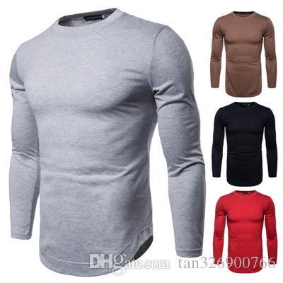 2018 otoño nueva marea de los hombres de manga larga de color sólido T-shirt que basa la camisa de código europeo comercio exterior al por mayor de gran tamaño T-shirt