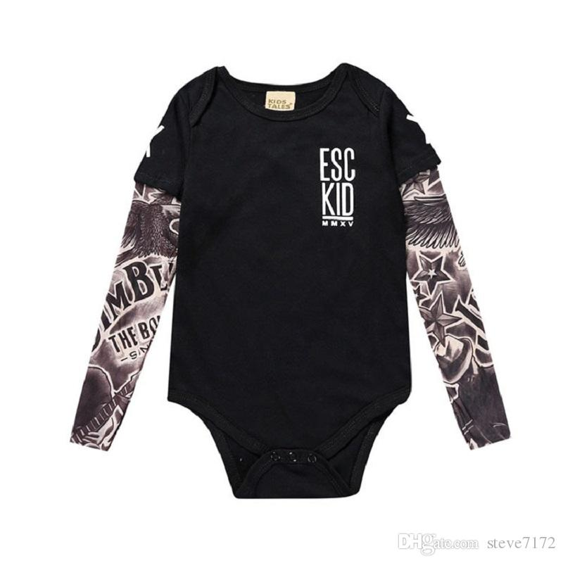 0-18 Newborn Baby Boy Fake Tattoo Sleeve Romper Infant Cotton Clothes Jumpsuit