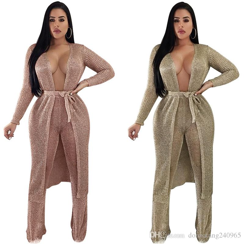 Women Autumn Long Sleeve Gold Chain Cardigan Tops with tie wait belt Sexy Style Kimono for Club Party Wear