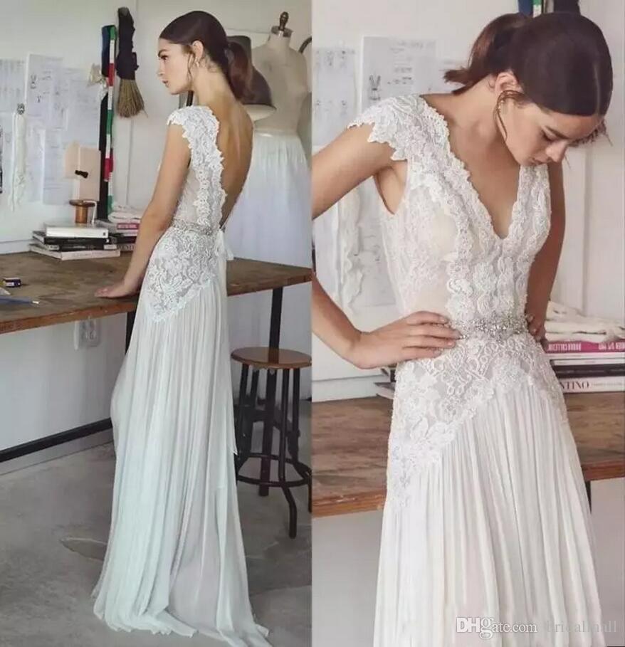 V-Ausschnitt Applizierte Spitze Böhmische Brautkleider 2020 Kristalle Schärpe Brautkleider Sweep Zug Strand Land Brautkleid Vestidos de novia