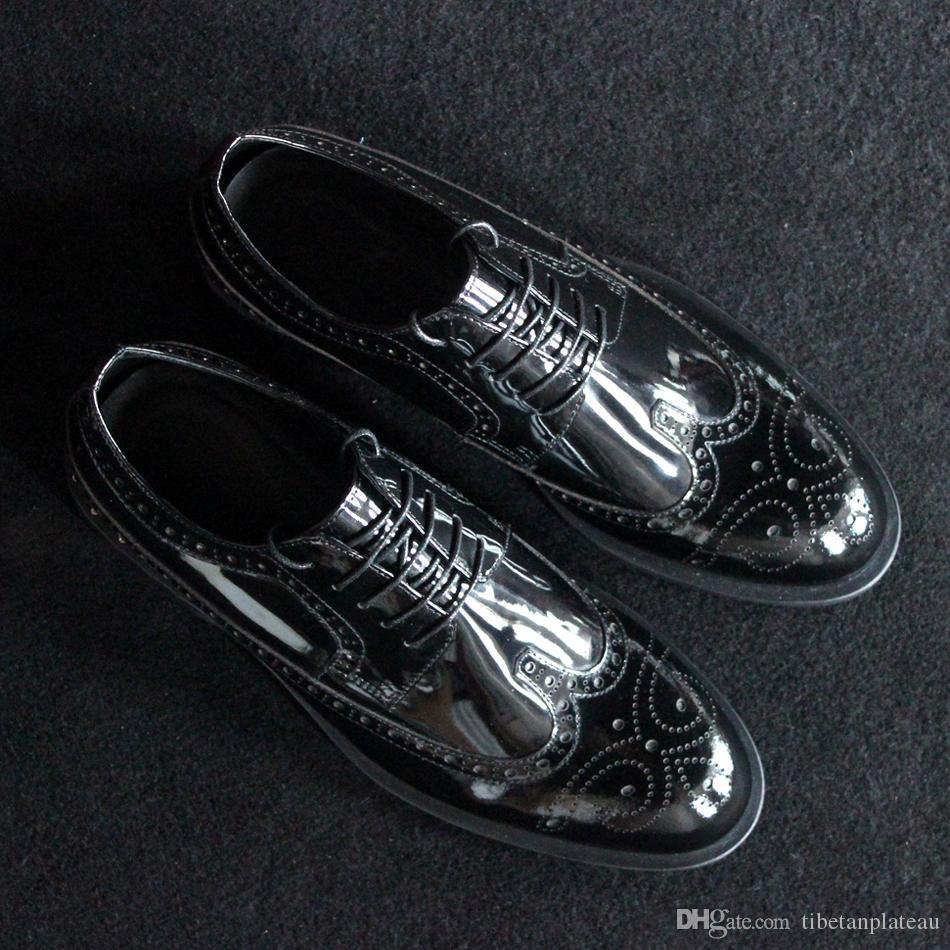 2017 Handmade Klasyczne Czarne Bullock Buty Matowe Patent Czarny Prawdziwej Skóry Rzeźbione Skórzane Buty Brytyjski Styl Styl Styl Toe But