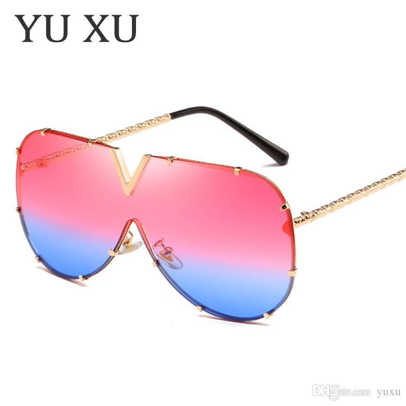 2018 Lady Siamese Occhiali da sole Multicolor Gradient Occhiali da vista High Quality Alloy Large Frame Occhiali da sole Brand Design UV400 H05