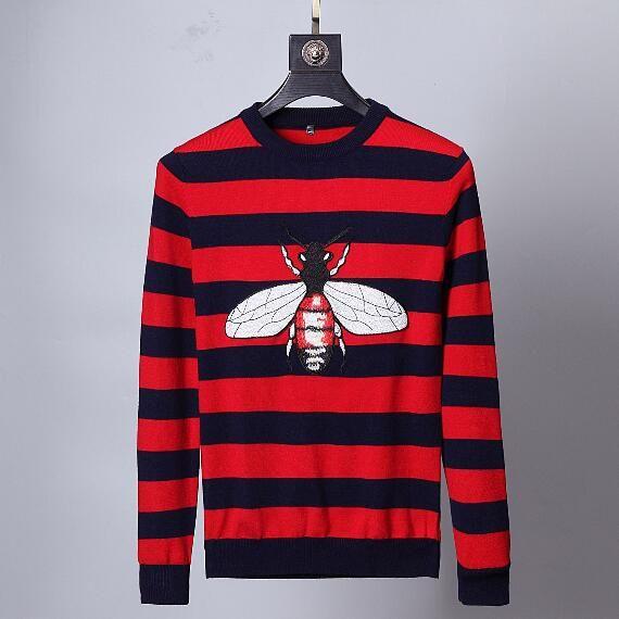 Acquista Fashion Designer Luxury Brand Mens Abbigliamento Europa Floccaggio Animale Rosso Blu Strisce BEE LOIVED Maglione Di Lana Pullover Felpa