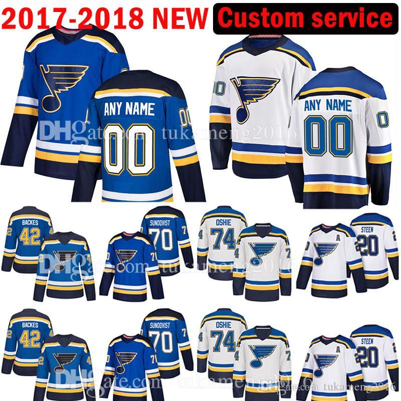 سانت لويس بلوز مخصص 2017-2018 الرجال الجديدة 70 وسكار سوندكفيست 99 اين Gretzky جيرسي الرجال 74 TJ Oshie 42 ديفيد باكس الفانيلة