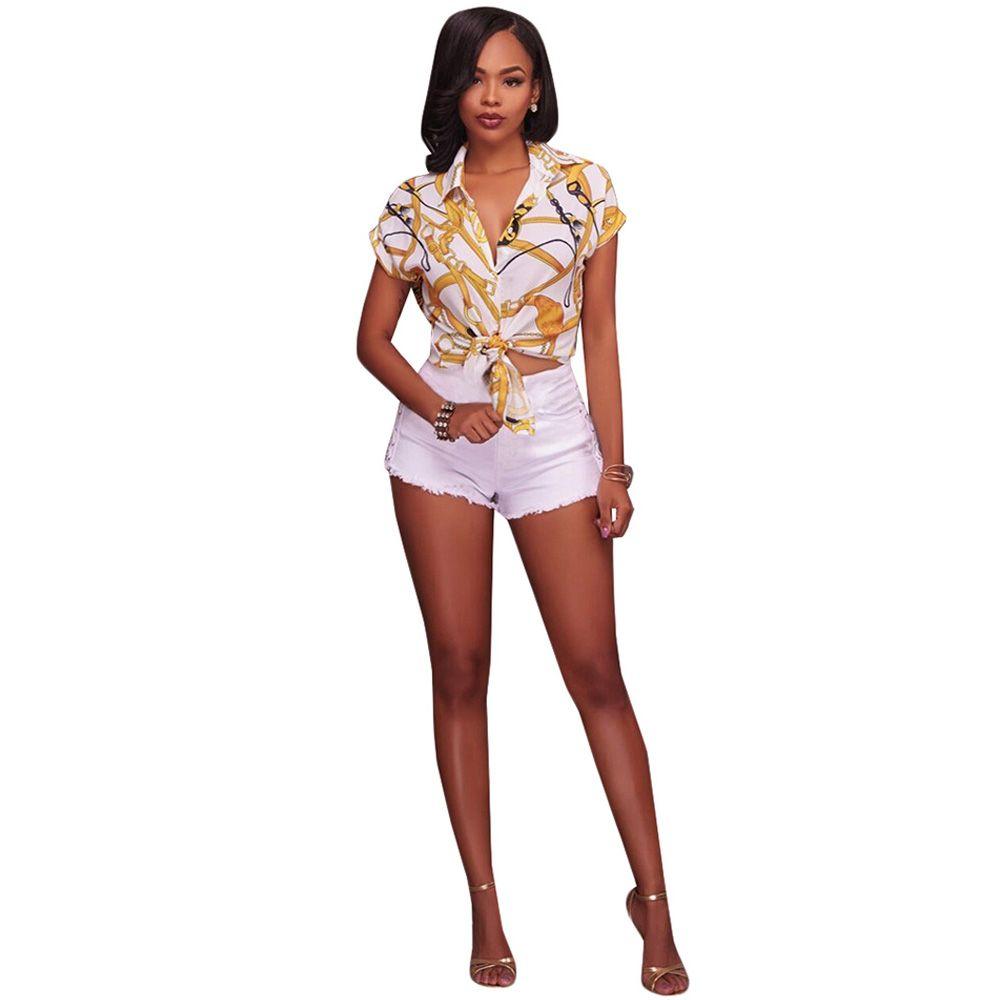 2017 Kobiety Eleganckie Koszulki z krótkim rękawem Topy Przycisk Przycisk Guzik Vintage Łańcuch Bluzka Wyłącza Kołnierz Czarne Białe Bluzki Koszule