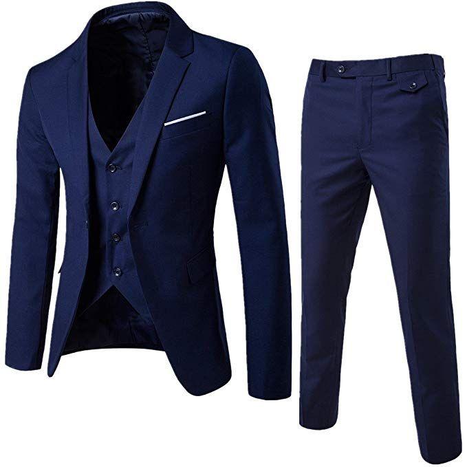 Setwell 남성 세 가지 남성 정장 슬림핏 싱글 브레스트 남성의 웨딩 정장 맞춤 제작 웨딩 턱시도 정장 세트 (조끼 + 바지 + 자켓)