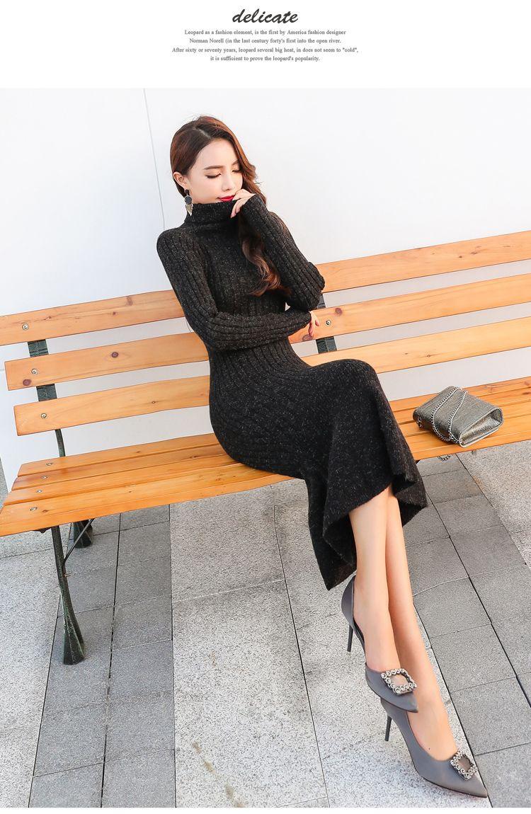 Großhandel Zarachiel Rollkragenpullover Lange Strickpullover Kleid 2018 Winter Frauen Stehkragen Warm Dicken Pullover Bodycon Mantel Meerjungfrau