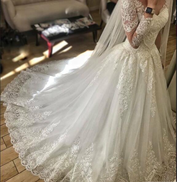 Abiti da sposa a maniche lunghe a maniche lunghe vitage di qualità vitage abiti da sposa con velo gratis