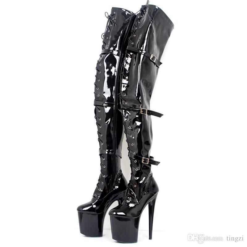 Noir Sur-le-Genou Cuisse Haute Bottes De Danse Sexy Plateforme 9Cm Talons Hauts Boucle De La Mode De La Dentelle Up Fétiche 20 Cm Pointus Pour Les Femmes Chaussures