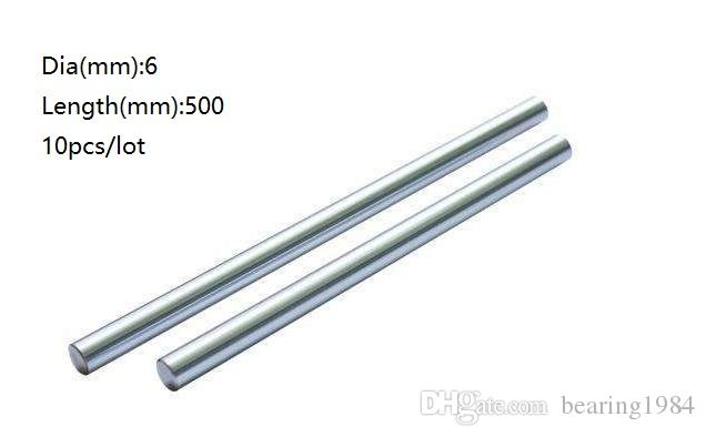 10pcs/lot 6x500mm Dia 6mm linear shaft 500mm long hardened shaft chromed plated steel rod bar for 3d printer parts cnc router