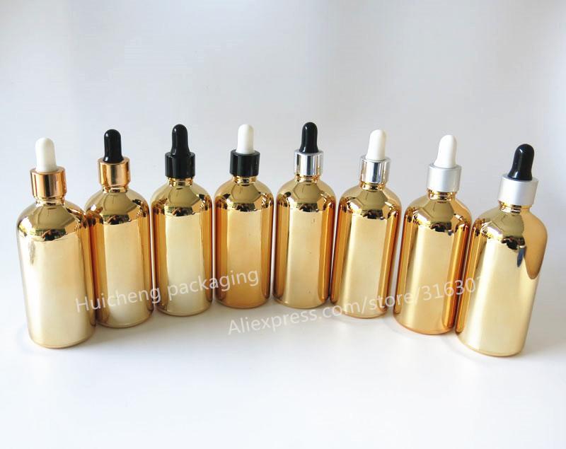Botella de cristal plateada oro de alta temperatura del dropper de 100pcs / lot 100ml, envase de cristal del aceite esencial del oro 100cc
