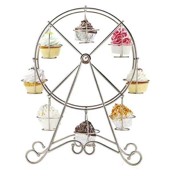 관람차 실버 스테인레스 스틸 컵 케이크 스탠드 케이크 홀더 웨딩 장식 디스플레이 도구 파티는 Casamento 용품